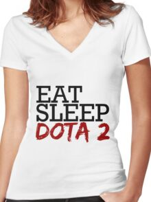 eat, sleep, dota 2 Women's Fitted V-Neck T-Shirt