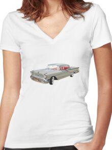 Vintage Oldsmobile Car auto Women's Fitted V-Neck T-Shirt