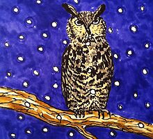 Hand drawn owl at night by CClaesonDesign