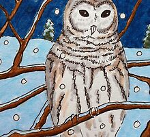 Hand drawn illustrative owl at night by CClaesonDesign