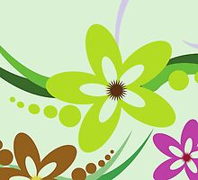 Whimsical Flowers Petals Blossom Green Purple by sitnica