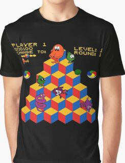 Q*Bert - Video Game, Gamer, Qbert, Orange, Black, Nerd, Geek, Geekery, Nerdy Graphic T-Shirt