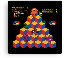 Q*Bert - Video Game, Gamer, Qbert, Orange, Black, Nerd, Geek, Geekery, Nerdy Canvas Print