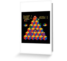 Q*Bert - Video Game, Gamer, Qbert, Orange, Black, Nerd, Geek, Geekery, Nerdy Greeting Card