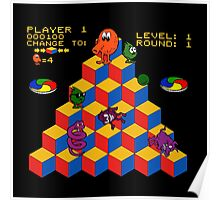 Q*Bert - Video Game, Gamer, Qbert, Orange, Black, Nerd, Geek, Geekery, Nerdy Poster