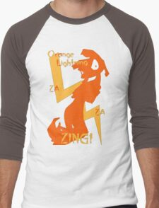 Orange Lightning Men's Baseball ¾ T-Shirt