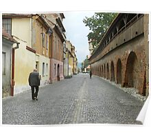 Old Walls, Old Man Walking Poster