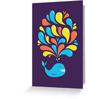 Colorful Swirls and Happy Cartoon Whale Greeting Card