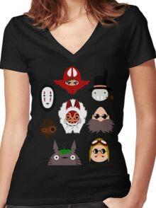 ghibli chraracters ~ 1 Women's Fitted V-Neck T-Shirt