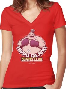 Hippo Island Boxing Club Women's Fitted V-Neck T-Shirt