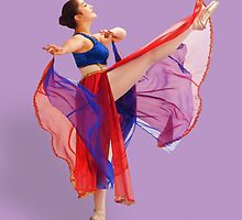 Ballerina in Red, Blue, and Lavender  by Delores Knowles