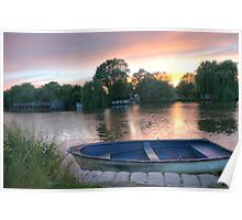 Sunset over Surrey Thames Poster