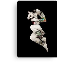 Tattoo Girl in Bed Canvas Print