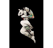 Tattoo Girl in Bed Photographic Print