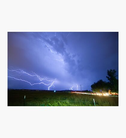 75th and Woodland Lightning Thunderstorm View Photographic Print