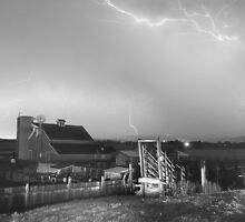 Storm on The Farm in Black and White by Bo Insogna
