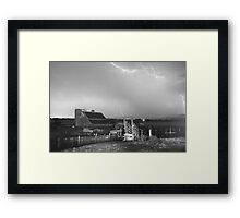 Storm on The Farm in Black and White Framed Print