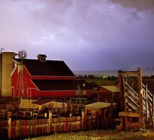 Lightning Strikes Over The Farm by Bo Insogna