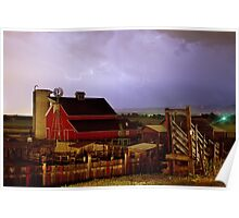 Lightning Strikes Over The Farm Poster