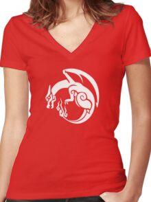 Pocket Monster Hunter Red Women's Fitted V-Neck T-Shirt