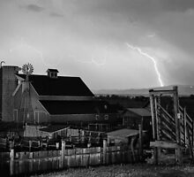McIntosh Farm Lightning Thunderstorm BW by Bo Insogna