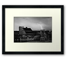 McIntosh Farm Lightning Thunderstorm BW Framed Print