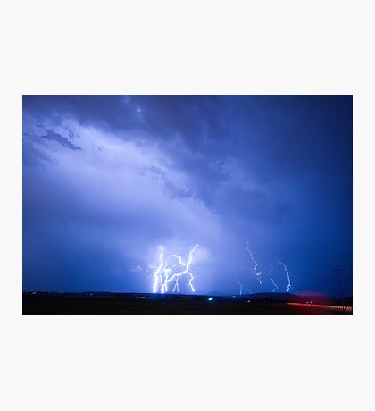 Rabbit Mountain Area Lightning Strikes Boulder County Photographic Print