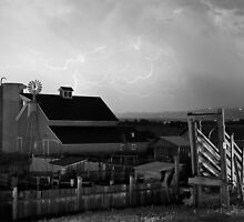 Barn On The Farm and Lightning Thunderstorm by Bo Insogna