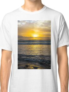 beautiful yellow sunset and soft waves at beal beach Classic T-Shirt
