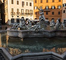 Neptune Fountain Rome Italy by Georgia Mizuleva
