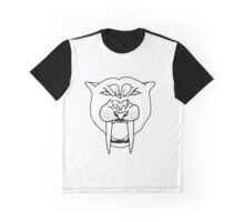 Sabertooth Cat (black on white) Graphic T-Shirt