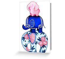 Fabric Elephant Stack Greeting Card