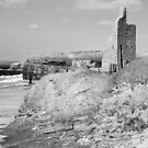 black and white ballybunion castle ruins by morrbyte