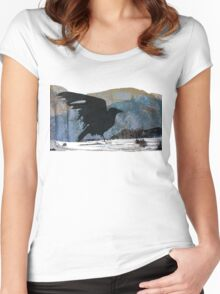 Something About Birds: Crow with White Feather Women's Fitted Scoop T-Shirt