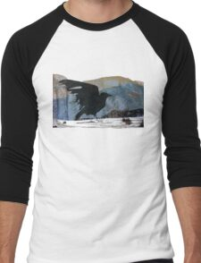 Something About Birds: Crow with White Feather Men's Baseball ¾ T-Shirt