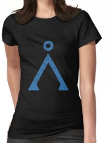 Earth symbol on black background Womens Fitted T-Shirt