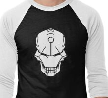 Cyborg Skull in White Men's Baseball ¾ T-Shirt