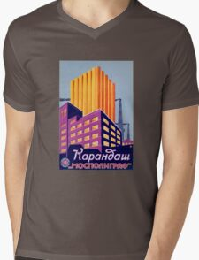 Vintage USSR building Mens V-Neck T-Shirt