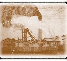 My pencil drawing of Frickley Colliery given an old photo effect by Dennis Melling