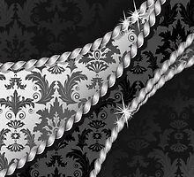 Venetian Ornament Antique Damask Black, White by sitnica