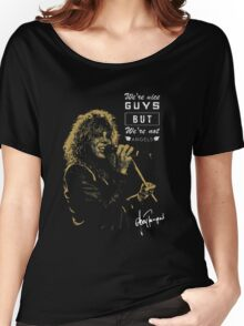 Rocker singing stylish poster on black background Women's Relaxed Fit T-Shirt