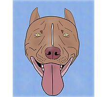 Smiling Red Nose Pitbull with his Tongue Out - Line Art Photographic Print