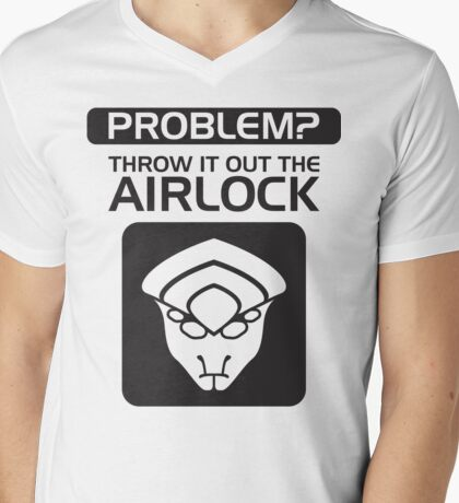Throw it Out the Airlock in Black Mens V-Neck T-Shirt