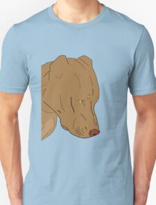 Cute and Sad Red Nose Pit Bull Portrait - Line Art Unisex T-Shirt