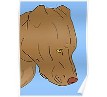 Cute and Sad Red Nose Pit Bull Portrait - Line Art Poster