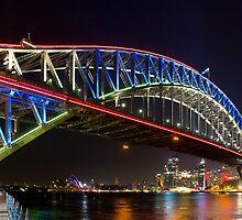 Sydney Harbour Bridge Vivid Lights 2013 #1 by LeeGatland
