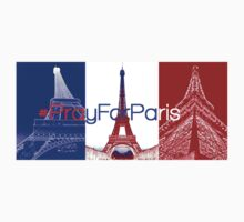 #PrayForParis over the French flag with pictures of the Eiffel tower. One Piece - Short Sleeve