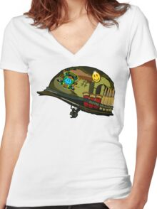 Watchmen - Viet Nam Helmet Women's Fitted V-Neck T-Shirt