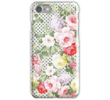 Vintage girly pink red yellow flowers polka dots  iPhone Case/Skin