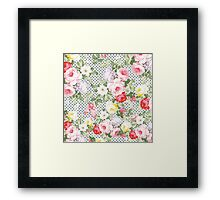 Vintage girly pink red yellow flowers polka dots  Framed Print